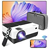 Proyector WiFi Soporta 1080P Full HD 6500 lúmenes, Proyector Portátil, Mini proyector Video,Proyector LED de Cine en casa,Duplicar Pantalla paraAndroid/iPhone/iPad,HDMI/USB/VGA/AV/SD /PPT