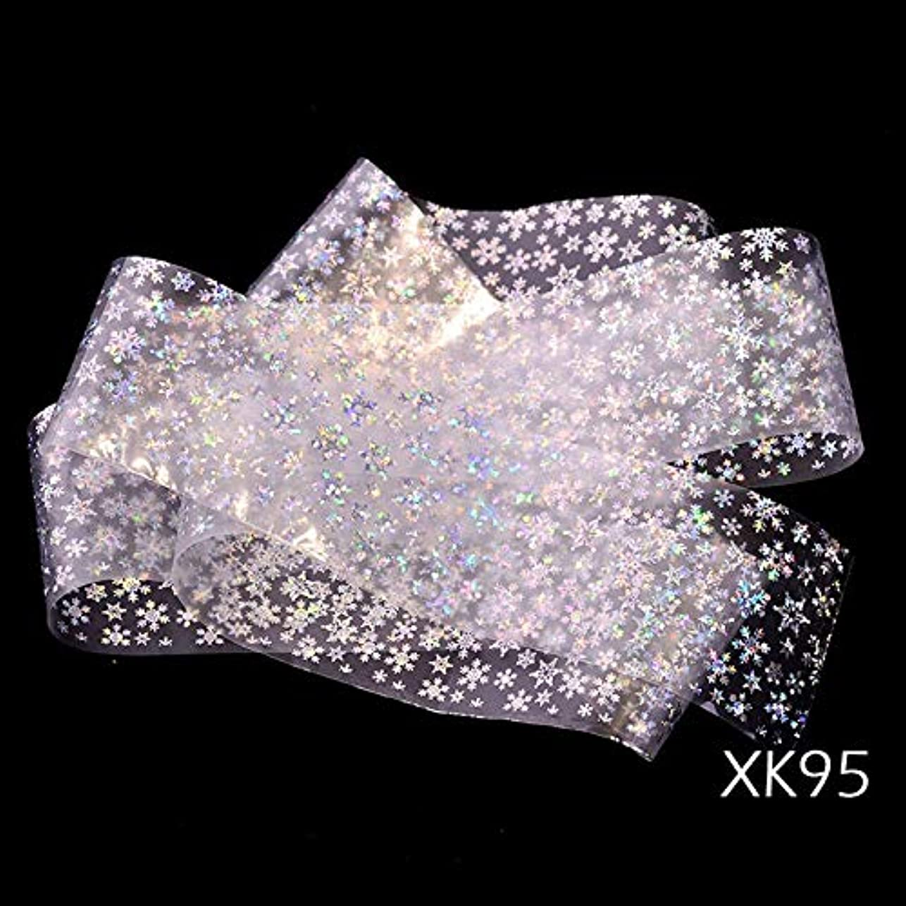 1ピースレーザーネイル箔転写ステッカークリスマスホログラフィックシルバーカラー光沢のあるスノーフレークデザイン透明/ブラックチップSAXK94-97 XK95