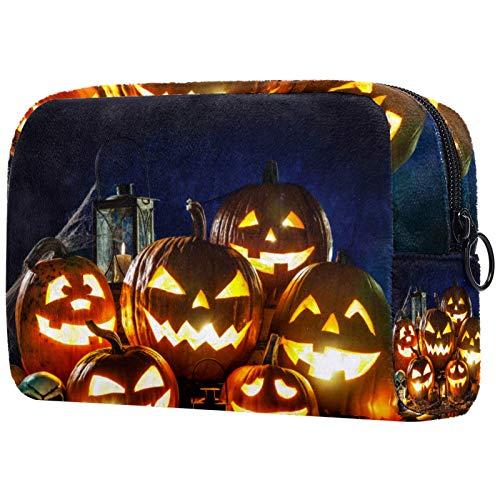Kosmetiktasche Make-up Taschen für Frauen, kleine Make-up Tasche Reisetaschen für Toilettenartikel - Halloween Kürbiskopf Jack Laterne mit Brennen