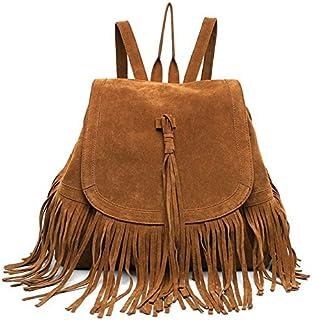 Bolsa de Viaje Mochila Bandolera con Flecos Moda Casual Retro de Mujer Bolsa Color marrón