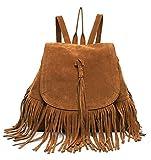 DAYAN Bolsa de Viaje Mochila Bandolera con Flecos Moda Casual Retro de Mujer Bolsa Color marrón