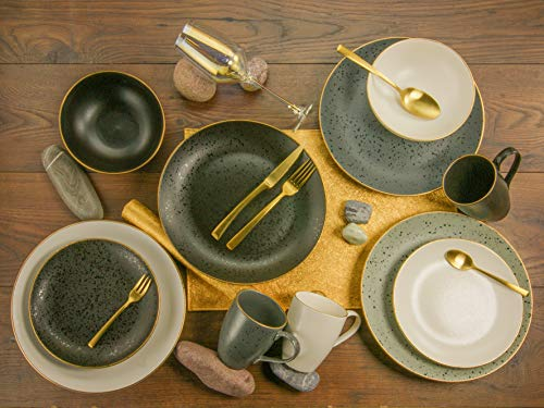 Creatable, 14634, Serie INDUSTRIAL GOLD, Geschirrset, Kombiservice 16 teilig, Steinzeug