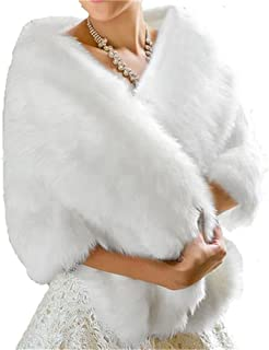 BanZhang Winter Wedding Faux Fur Shawl Wrap Bolero for Women Prom Evening Party Formal