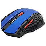 OcioDual Ratón Inalámbrico GF2429 Azul Gaming Wireless Óptico 1600 dpi con 6 Botones Receptor USB 2.0 para PC Laptop Windows