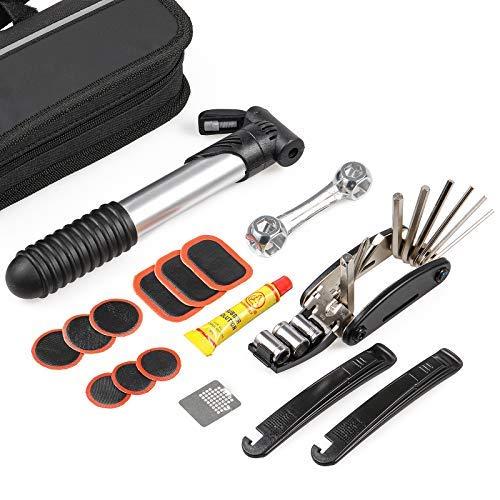Kit de reparación de bicicleta-kit de herramientas de bicicleta con bomba y bolsa, 16 en 1 para bicicleta, kit de reparación de neumáticos de bicicleta con 3 tamaños de..