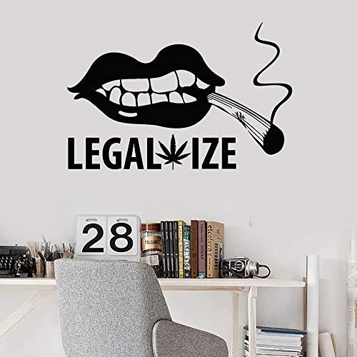 WERWN Hermosos Labios calcomanía de Pared Conjunta Hoja de Arce Legalizar Fumar Hierba Vinilo Etiqueta de la Ventana Sala de Fumadores Agujero de Hombre decoración de Interiores Arte