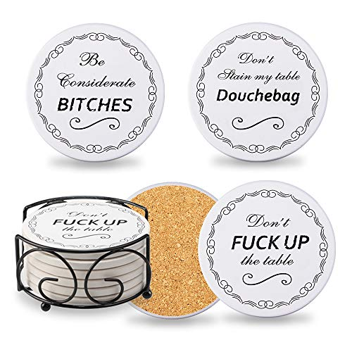 Chrider Funny Coasters for Drinks Absorbent with Holder, 6-Piece Set, Present for Men, Women,...