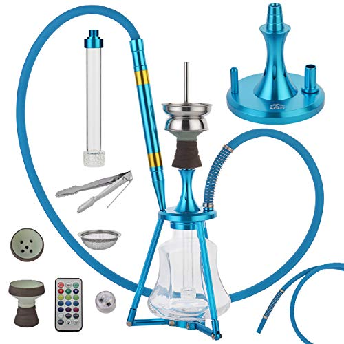 """Admy® Hookah Set with Everything, 60"""" Hose Hooka with Clay Bowls for Smoking, Aluminum Pipe Portable 18"""" Tall Small Lit Complete Shisha Kit, LED Light Huka Vase Molasses Collector & Travel Bag"""