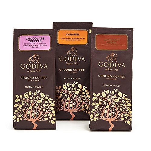 Godiva Chocolatier Assorted Ground Coffee Gift Bag, Set of 3, 10 Ounce