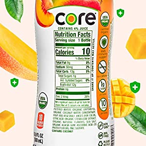 CORE Organic Hydration, Peach Mango, 16.9 Fl Oz (Pack of 12), Nutrient Enhanced Flavored Water with Immunity Support from Zinc, USDA Certified Organic