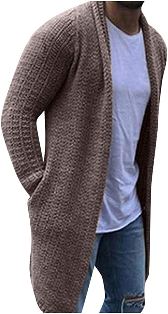 Fanteecy Mens Cardigan Sweaters Long Sleeve Knit Open Front Cardigans Shawl Chunky Slim Fit Coats with Pocket