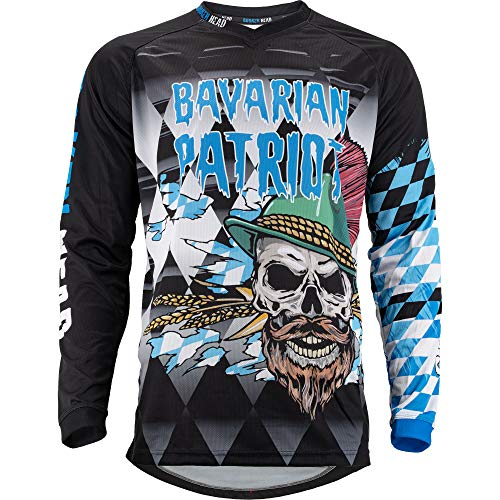 Broken Head MX Jersey Bavarian Patriot Weiß-Blau-Schwarz - Moto-Cross Jersey - BMX - Offroad - Trikot - Racing Shirt (XL)