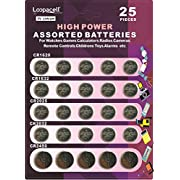 Loopacell High Power Button Cell 3V Lithium Assorted Battery CR2032 CR2025 CR2450 CR1620 CR1632 Pack of 25