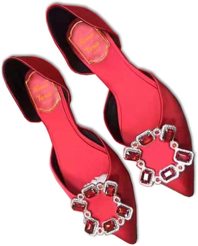 Neue Strass Quadrat Schnalle Hohl Einzelne Schuhe Weibliche Rote Hochzeit Schuhe Flache Untere Net Rot Professionelle Arbeitsschuhe Sandalen Weibliche Kristall Schuhe, 36, Rot