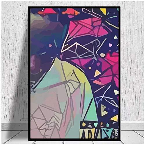 Impresiones en lienzo abstracto maldito decoración del hogar lienzo nórdico pintura cartel de arte de pared impresión rosa para dormitorio Hotel Apartamento 20x28 pulgadas sin marco