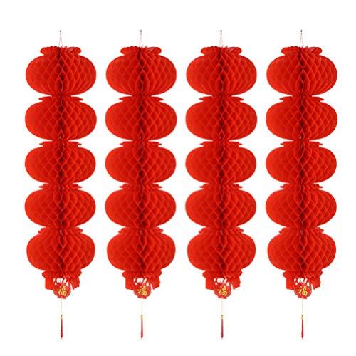 OSALADI 8 Stücke Chinesische Rote Laternen Chinesische Papierlaternen Waben Laternen Hängen Dekorationen für Party Hochzeit Restaurant (Eine Schnur von Fünf)
