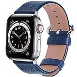 Fullmosa Apple Watch対応 バンド ベルト アップルウォッチバンド42mm/44mm apple watch 6/5/4/3/2/1&SE バンド 本革レザー 交換バンド ラグ付き 42mm/44mm 紺青