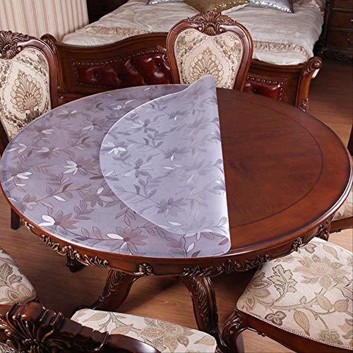 N/ PVC Mantel Impermeable Redondo Mantel de Mesa Transparente patrón de Cocina Aceite Mantel de Cristal Suave Alfombra de Tela, Esmerilado (1,5 mm), 70cm Round