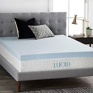 LUCID 4 Inch Gel Memory Foam Mattress Topper - Ventilated Design - Ultra Plush -Twin