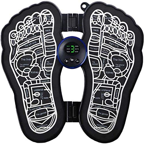 CDBXA Electric Foot Massager, USB rechargeable Massager Mat EMS Feet Massage Machine Physiotherapy Foot Massage Pad Promoting Blood Circulation Muscle Pain Relief (Black)