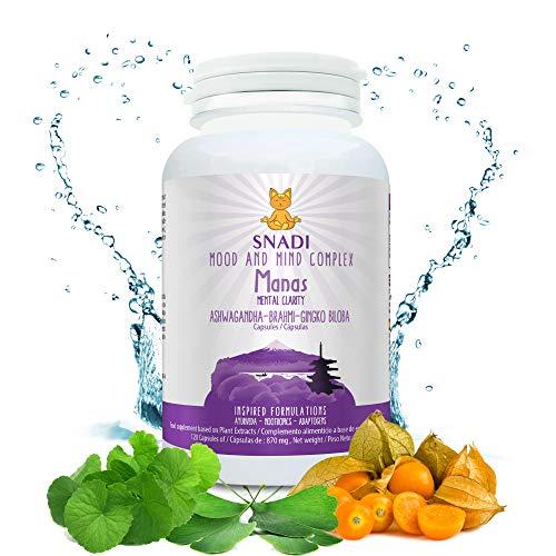 Capsulas vegetales MANAS de Aswhaganda, Brahmi y Ginkgo biloba l 120 capsulas - 600 mg I Sostiene el sistema nervioso, reduce el estres e Insomnio l Mood and mind complex.