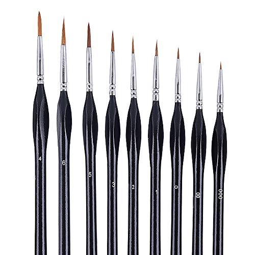Hbsite Pennello di dettaglio Set 9 pennelli in miniatura per artista PCS perfetti per acrilico, acquerello, olio, pittura per il viso, unghie, pittura su modello in scala, disegno a tratteggio e altro