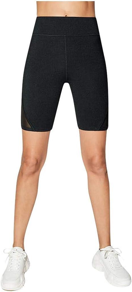 Hotkey Yoga Pants for Women, Hip Stretch Fitness Leggings High Waist Mesh Stitching Yoga Shorts Workout Exercise Pants