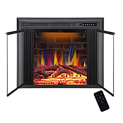 R.W.FLAME Electric Fireplace Insert, Traditional Antiqued Build in Recessed Electric Stove Heater, Glass Door and Mesh Screen,Touch Screen,Remote Control,750W-1500W with Timer, Colorful Flame Option