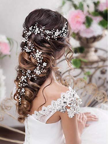 Simsly Braut Blume Hochzeit Haar Rebe Silber Hochzeit Haarschmuck Perle Braut Kopfschmuck für Frauen und Mädchen