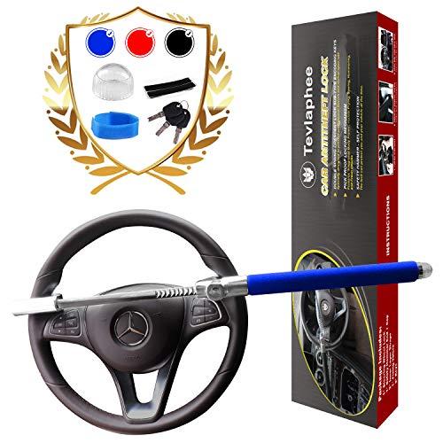 Tevlaphee Cerradura del Volante Antirrobo Alta Seguridad Fuerte Universal para Todos Vehículos Bloqueo Giratorio Ajustable Autodefensa con 3 Llaves (Blue)