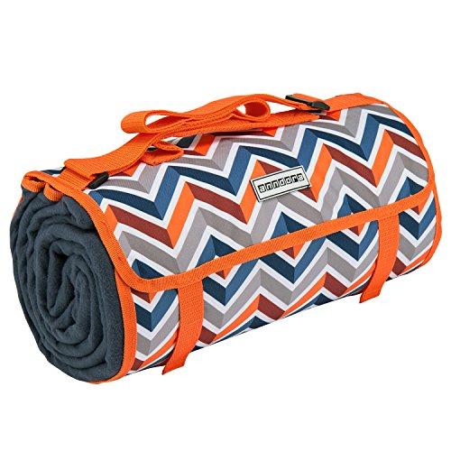 anndora Picknickdecke Wasserabweisende isolierende Unterseite 150x200 cm dunkelblau orange Camping Strand Picknick