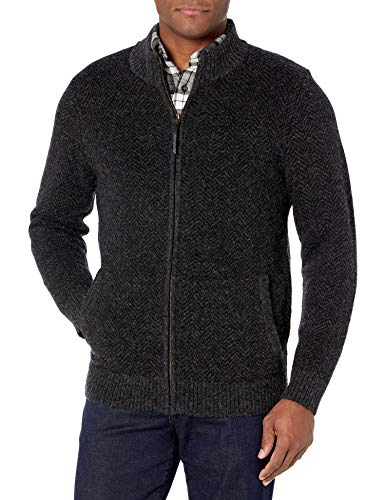 Pendleton Men's Shetland Full-Zip Cardigan Sweater, Black Heather, MD