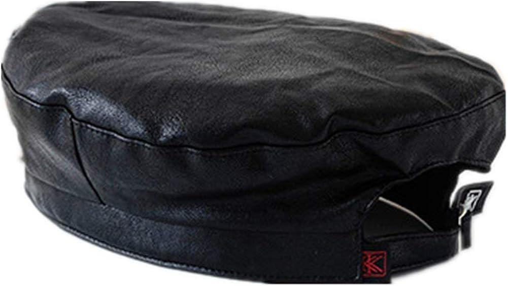 UU BEN Women's Beret Hat Chic Parisian Style Soft Lightweight Faux Leather Hat Adjustable Beanie Hat