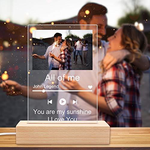 Spotify Glas Personalisiert Bilder,Foto Album Spotify Glass Song Cover Glasfoto mit Leuchtsockel,LED Licht,Personalisierte Geschenke