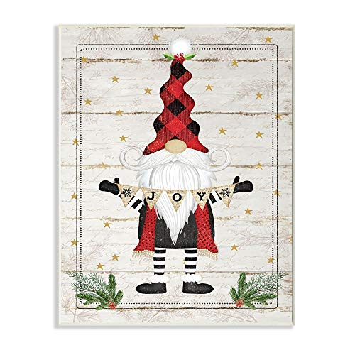 Stupell Industries Whimsical Holiday Gnome with Winter Joy Sentiments Wall Art, 10 x 15, Beige