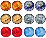 LilMents 6 Pairs Solar System Galaxy Universe Unisex Mens Womens Stainless Steel Stud Earrings (Set A)