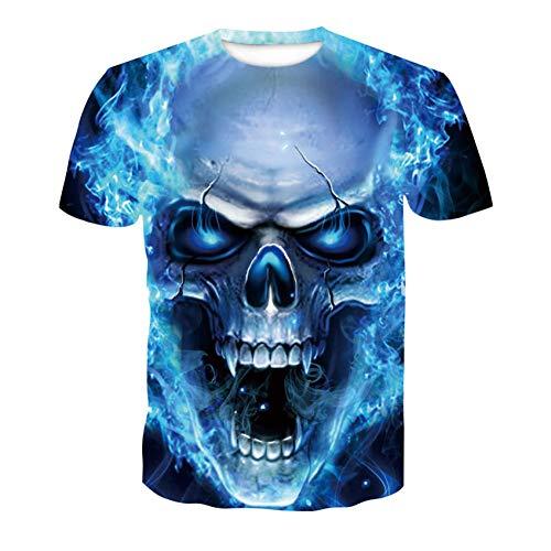 RelaxLife Herren 3D Druck T-Shirt Herren Summer Skull Poker Print Herren Kurzarm T-Shirt 3D T-Shirt Lässiges Atmungsaktives T-Shirt Plus-Size-T-Shirt Tops
