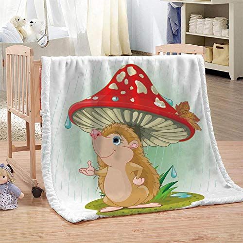DHYYQX 3D Cute Hedgehog Mushroom Flannel Blanket Throw Blanket for Kids Children Adults Air Conditioning Blanket Nap Blanket 53x59 Inches(135x150cm) for Home Bed, Sofa Soft Warm Lightweight