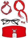 Ensembles d'accessoires exquis: ces accessoires de costume comprennent des lunettes pour les yeux de chat, une écharpe, un serre-tête, des boucles d'oreilles et une ceinture, vous pouvez les assortir au hasard et montrer vos propres styles, vous rend...
