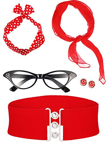Zhanmai 50's CostumeAccessories Set Includes Scarf Headband Earrings Cat Eye Glasses Waistband for Women Girls Party Supplies (Red)