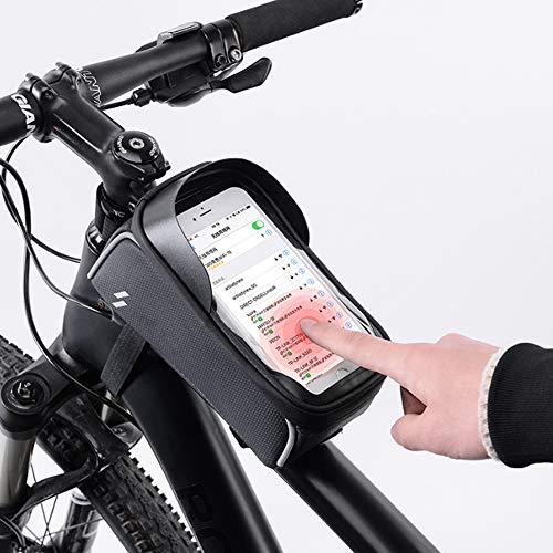 WYY Bolsa Marco Frontal Bicicleta, Bolsa Soporte Bicicleta Soporte Caja Teléfono Bicicleta Impermeable con Pantalla Táctil Bolsa Manillar Gran Capacidad para Teléfono Menos 6.5 Pulgadas, Negro