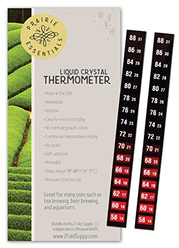 Prairie Essentials Instant Easy Read Adhesive Strip Liquid Crystal Stick On Thermometer with Red Display for Kombucha, Beer, Tea, Brewing, Fermenting and Aquariums (2)