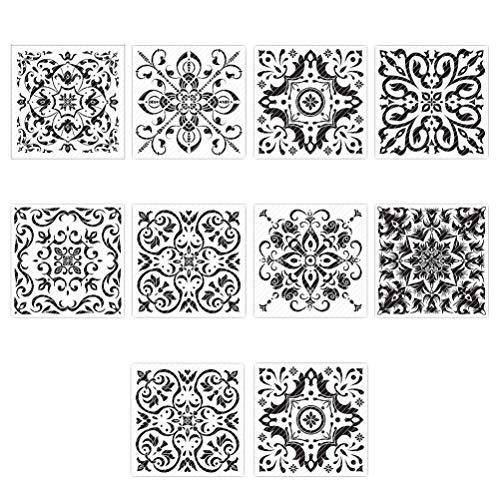 Garneck 10St Vloertegels Stickers Mediterraanse Tegel Kunst Behang Pvc Waterdichte Decoratieve Stickers Voor Woonkamer Badkamer Keuken