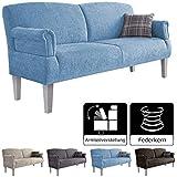 Cavadore 3-Sitzer Sofa Pasle mit Federkern für Küche, Esszimmer / Küchensofa, Essbank im modernen Landhausstil / verstellbare Armlehnen / Holzfüße weiß / 181 x 98 x 81 cm /...