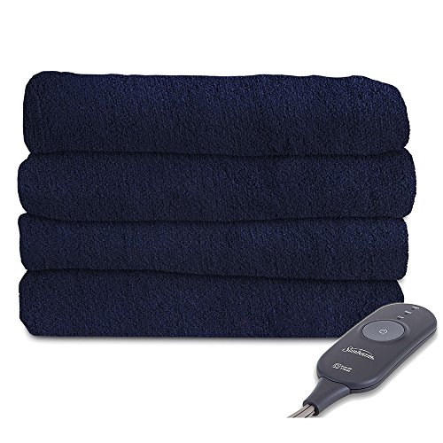 Sunbeam Microplush Electric Heated Throw Blanket Royal Blue Washable 3 Heat Settings