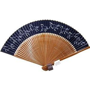 扇子 男性 日本製 高級京扇子 メンズ (男性用) の扇子です。馬九行く(うまくいく) 左馬 紳士用の黒せんす。45本骨 大短地 紙扇子 和雑貨 父の日・敬老の日・上司の方へ・海外の方へお土産 プレゼントとして。