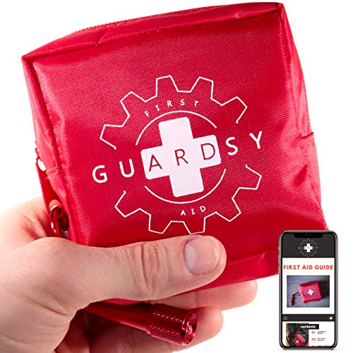 Guardsy Mini First Aid Kit | Compact Small Medical Emergency Survival Kit perfect for Car, Travel, Hiking, Camping, Outdoor, Cycling, Running, Home, Vehicle, Sports. With Digital First Aid Guide app