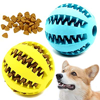 Youngever 2 Pack Dog Ball Toys for Pet Tooth Cleaning, Chewing, Fetching, IQ Treat Ball Food Dispensing Toys (Large 2.75 inch)