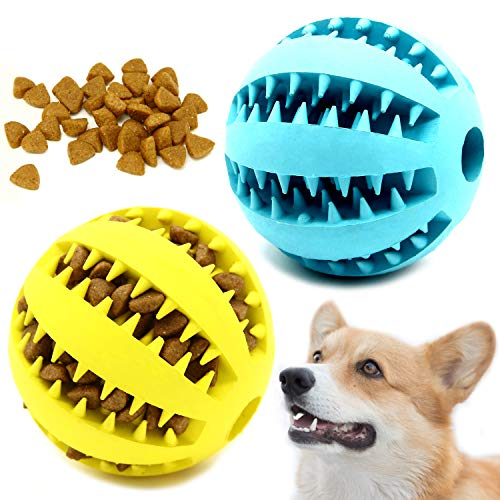 pet supplies balls Youngever 2 Pack Dog Ball Toys for Pet Tooth Cleaning, Chewing, Fetching, IQ Treat Ball Food Dispensing Toys (Large 2.75 inch)