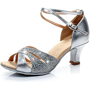 Xianshu Womens Latin Dancing Shoes Cross Ankle Strap Buckle Sequins Fish Mouth Sandals Mid Heel Pumps (Silver-6 UK)